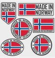 made in norway label set with flag made in norway vector image