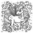 magical unicorn among stars vector image vector image