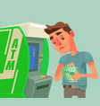 man character receive and count money near atm vector image