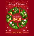mega sale postcard with christmas wreath vector image vector image