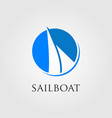 minimalist sailboat logo in negative space vector image vector image