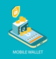mobile cryptocurrency wallet isometric vector image