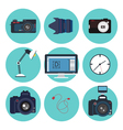 Photographer Tools Creative Kit Designer Set Icons vector image vector image
