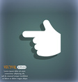 pointing hand icon symbol on the blue-green vector image