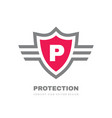 protection shield concept logo design letter p vector image vector image