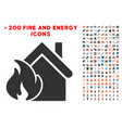 realty fire disaster icon with bonus fire vector image vector image