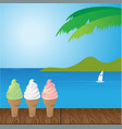 sea and ice cream vector image vector image
