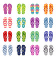 set bright colored flip flops vector image vector image