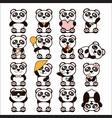 set cute pandas happy vector image