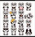 set of cute pandas happy vector image