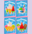 set poster ice cream vector image vector image