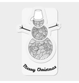 Snowmen with abstract doodle pattern Christmas vector image vector image