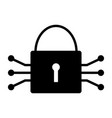 tech circuit lock icon simple minimal pictogram vector image