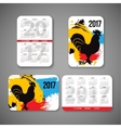 template design pocket calendar 2017 with emblems vector image