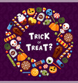 trick or treat circle frame flat template vector image