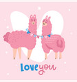 valentine s day card featuring a cute llama couple vector image vector image