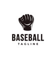 vintage baseball logo with catchers mitt icon vector image vector image
