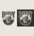 vintage brewery monochrome badge vector image vector image