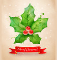 vintage postcard with christmas holly vector image vector image
