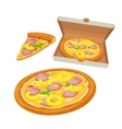 Whole pizza hawaiian in open white box and slice vector image vector image