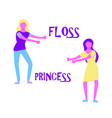 young woman dancing popular floss dance flat style vector image vector image
