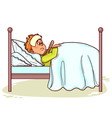 Ill little man with fever in bed vector image