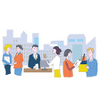 Business office and staff - meetings conversations vector image