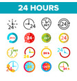 24 hours clock time color icons set vector image