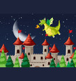 a medieval night scene vector image vector image