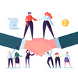 agreement flat people characters signing contract vector image