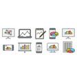 analysis statistics line icons chart report