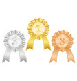 awards badges gold silver and bronze signs vector image vector image