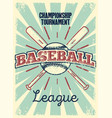 baseball typography vintage style grunge poster vector image