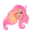 beautiful redhead woman with long wavy hair vector image