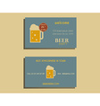 Beer party visiting card template with glass of vector image