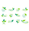 bio ecology vegan sticker icons templates vector image vector image