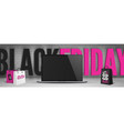 black friday computers sale web banner template vector image