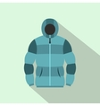 Blue hoodie icon flat style vector image vector image