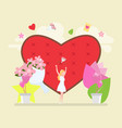 bride in white dress throwing bouquet with a love vector image