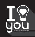 bulb with heart idea concept for happy valentines vector image