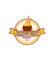 candy shop cupcake or pastry cake icon vector image vector image