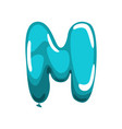 capital english letter m made of blue glossy vector image vector image