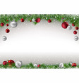 christmas background with branches and baubles vector image