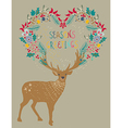 Christmas background with deer and floral holiday vector image vector image