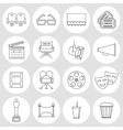 Cinema outline icons vector image vector image