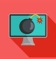computer virus icon flat style vector image
