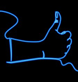 continuous line hand gesture like neon concept vector image vector image
