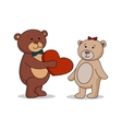 Couple lovers of teddy bears with heart in hands vector image vector image