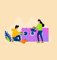 couple washing clothes in laundry vector image vector image