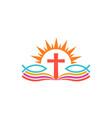 cross over bible with fishes religion logo vector image vector image